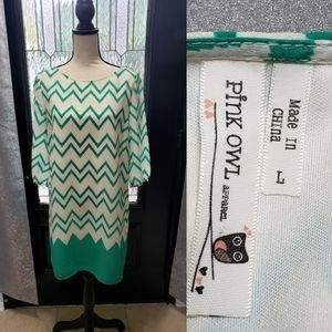 PINK OWL Green & White Chevron Shift Dress